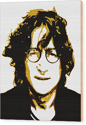 John Lennon In Shades Of Brown Wood Print by Jera Sky