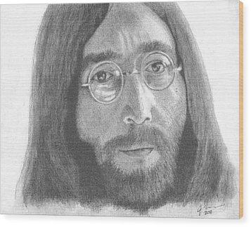 John Lennon Wood Print by Jeff Ridlen