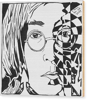 John Lennon Maze Wood Print by Yonatan Frimer Maze Artist