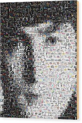 John Lennon Mosaic Wood Print by Paul Van Scott
