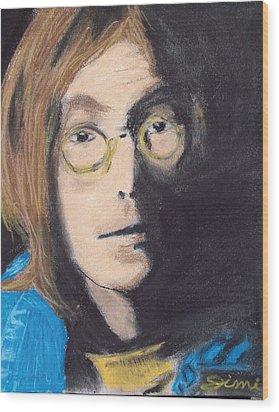 John Lennon Pastel Wood Print by Jimi Bush