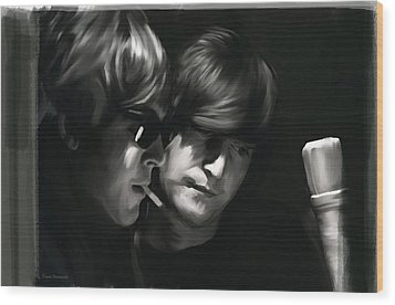 Wood Print featuring the painting John Lennon Paul Mccartney Wordscapes  by Iconic Images Art Gallery David Pucciarelli