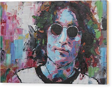 Wood Print featuring the painting John Lennon by Richard Day