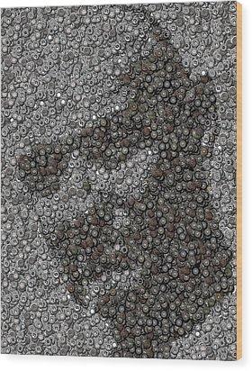 John Locke Dharma Button Mosaic Wood Print by Paul Van Scott