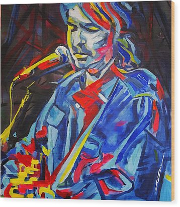 Wood Print featuring the painting John Prine #3 by Eric Dee