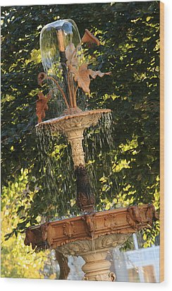 John Purdue Fountain In Color Wood Print by Coby Cooper