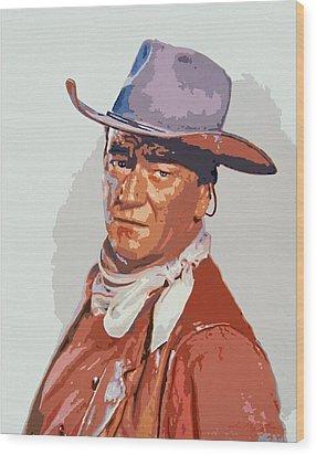 John Wayne - The Duke Wood Print by David Lloyd Glover