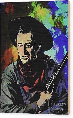 Wood Print featuring the painting John Wayne, by Andrzej Szczerski