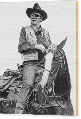 John Wayne As Rooster Cogburn Wood Print by Ronny Hart