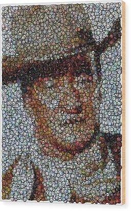 John Wayne Bottle Cap Mosaic Wood Print by Paul Van Scott
