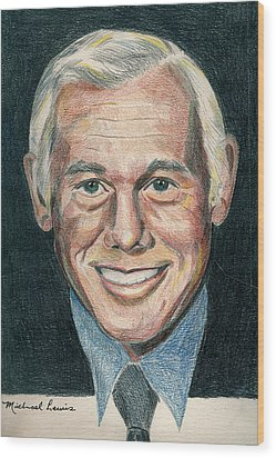 Johnny Carson Wood Print by Michael Lewis