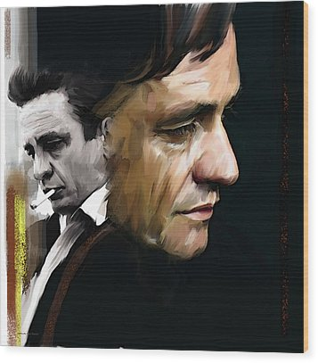 Wood Print featuring the painting Johnny Cash  Hurt by Iconic Images Art Gallery David Pucciarelli