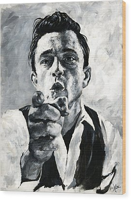 Johnny Cash II Wood Print