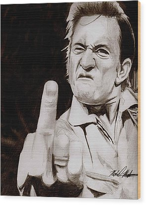 Johnny Cash Wood Print by Michael Mestas