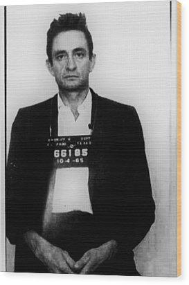 Johnny Cash Mug Shot Vertical Wood Print
