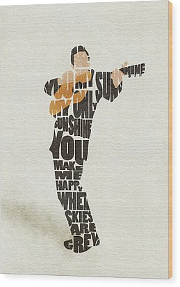 Wood Print featuring the painting Johnny Cash Typography Art by Inspirowl Design