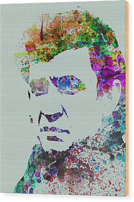 Johnny Cash Watercolor 2 Wood Print by Naxart Studio