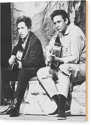 Johnny Cash, With Bob Dylan, C. 1969 Wood Print by Everett
