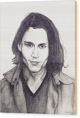 Johnny Depp Wood Print by Debbie McIntyre