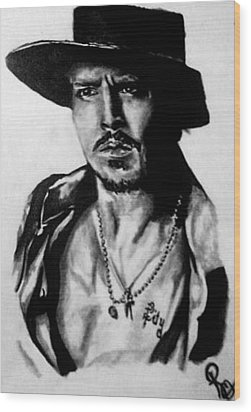 Johnny Depp Wood Print by Pauline Murphy