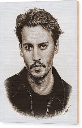 Johnny Depp Sepia Wood Print