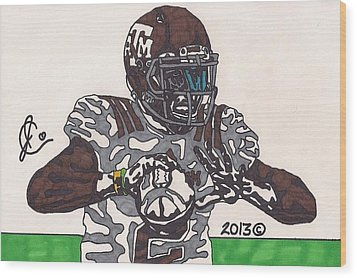 Johnny Manziel 12 Wood Print by Jeremiah Colley