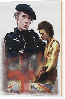 Wood Print featuring the painting Johnny Rotten And Sid Vicious Revolution In The Head  by Iconic Images Art Gallery David Pucciarelli