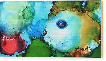 Johnny The Rocker Fish Wood Print by Annie StMartin