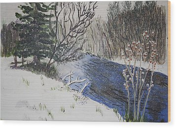 Wood Print featuring the painting Johnson Vermont In Spring Snow Storm by Donna Walsh