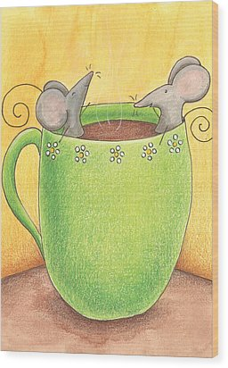 Join Me In A Cup Of Coffee Wood Print by Christy Beckwith