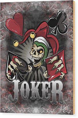 Joker Poker Skull Wood Print
