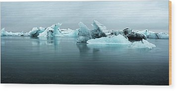 Wood Print featuring the photograph Jokulsarlon Glacier Lagoon Panorama by Brad Scott