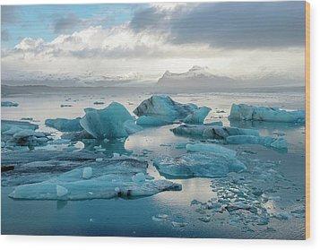 Wood Print featuring the photograph Jokulsarlon, The Glacier Lagoon, Iceland 6 by Dubi Roman