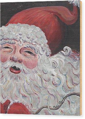 Jolly Santa Wood Print by Nadine Rippelmeyer