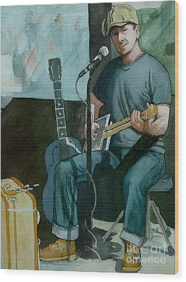 Wood Print featuring the painting Jon Short-have Blues Will Travel by Lynn Babineau