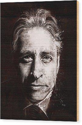Jon Stewart Wood Print by Fay Helfer