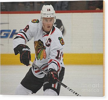 Jonathan Toews - Action Shot Wood Print