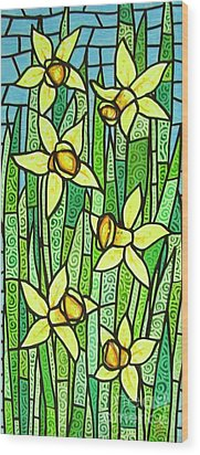 Wood Print featuring the painting Jonquil Glory by Jim Harris