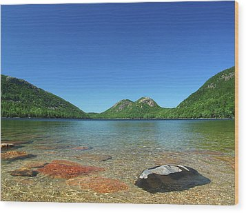 Jordan Pond And The Bubbles Wood Print by Juergen Roth