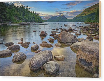 Jordan Pond And The Bubbles Wood Print by Rick Berk