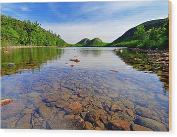 Jordan Pond And The Bubbles Wood Print by Thomas Schoeller