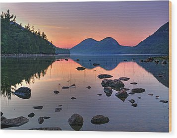 Jordan Pond At Sunset Wood Print by Expressive Landscapes Fine Art Photography by Thom