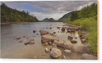 Wood Print featuring the photograph Jordan Pond  by Stephen  Vecchiotti