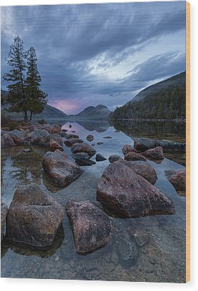 Wood Print featuring the photograph Jordan Pond Sunset  by Patrick Downey
