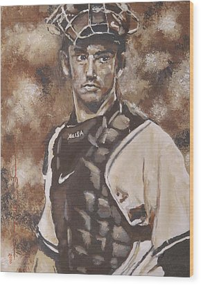 Jorge Posada New York Yankees Wood Print by Eric Dee