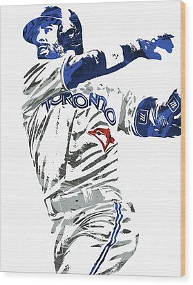 Jose Bautista Toronto Blue Jays Pixel Art 2 Wood Print by Joe Hamilton