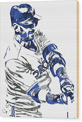 Jose Bautista Toronto Blue Jays Pixel Art Wood Print by Joe Hamilton
