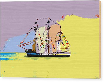 Wood Print featuring the painting Jose Gasparilla Sailing Colorful Tampa Bay by David Lee Thompson