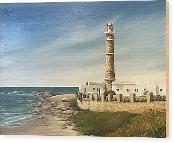 Wood Print featuring the painting Jose Ignacio Lighthouse Evening by Natalia Tejera