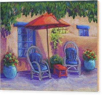 Josefina's Courtyard Wood Print by Candy Mayer